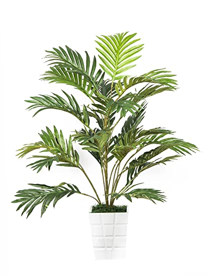 Artificial Areca Palm Plant With Wooden Pot Amazonin Home Kitchen