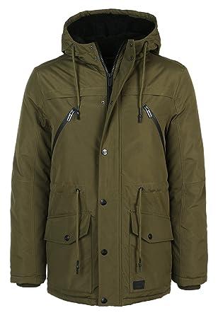 Sublevel Herren Winter Parka Uni   Elegante Winterjacke mit Kapuze warm    Einfarbige Kapuzenjacke Middle-Green M  Amazon.de  Bekleidung fef497ff88