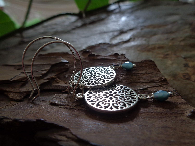pendientes de gancho largo en azul y plata ✿ GRANDE MANDALA TIERNA Y AZUL CRISTAL ✿ perforadas