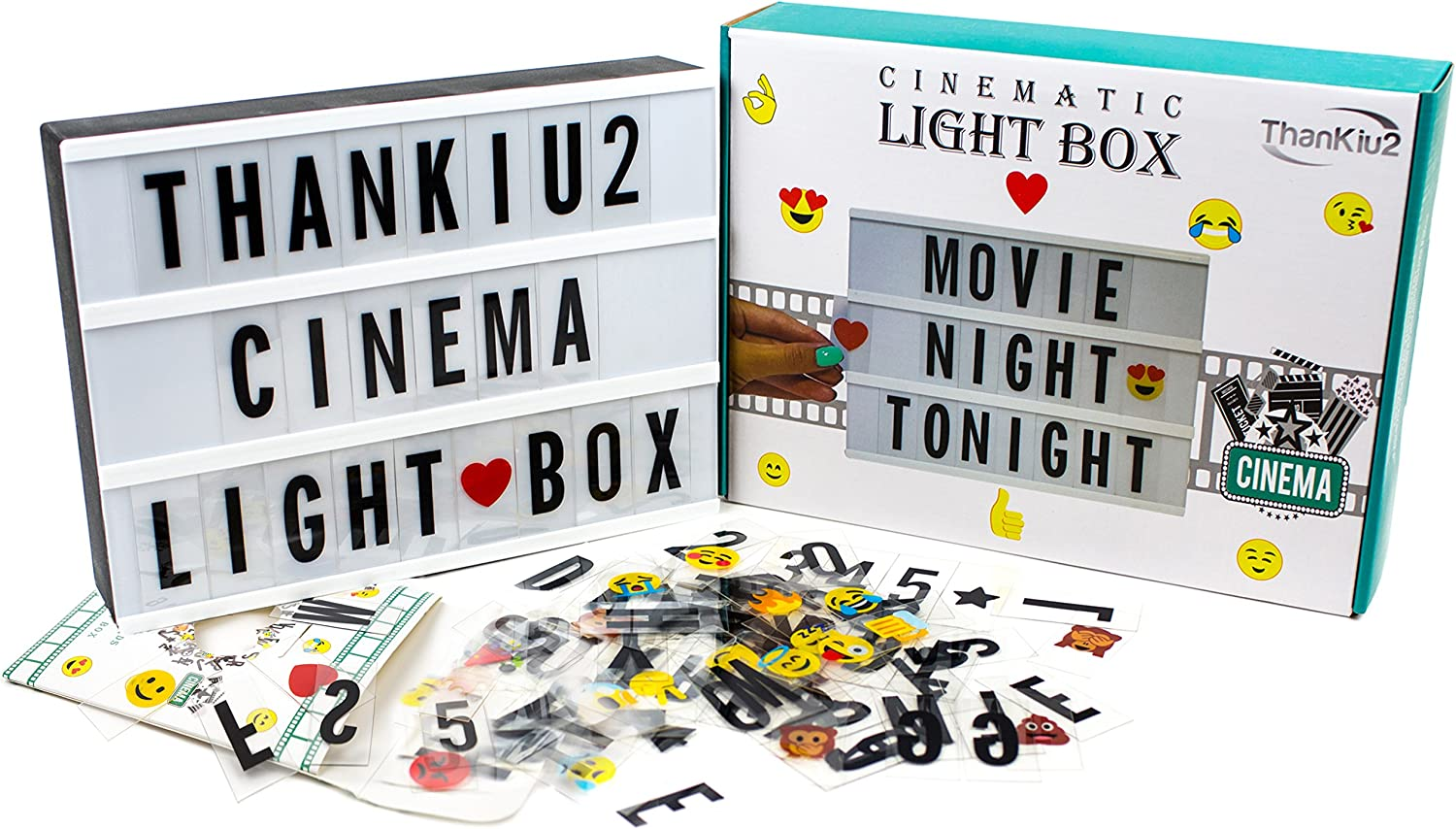 Cinema Light Box with Letters - Vintage Cinematic Light Up Message And Note Sign With 192 Letters, Numbers, Symbols & Emojis – Personalized A4 White LED Lightbox With Extra Long Durable USB Cable
