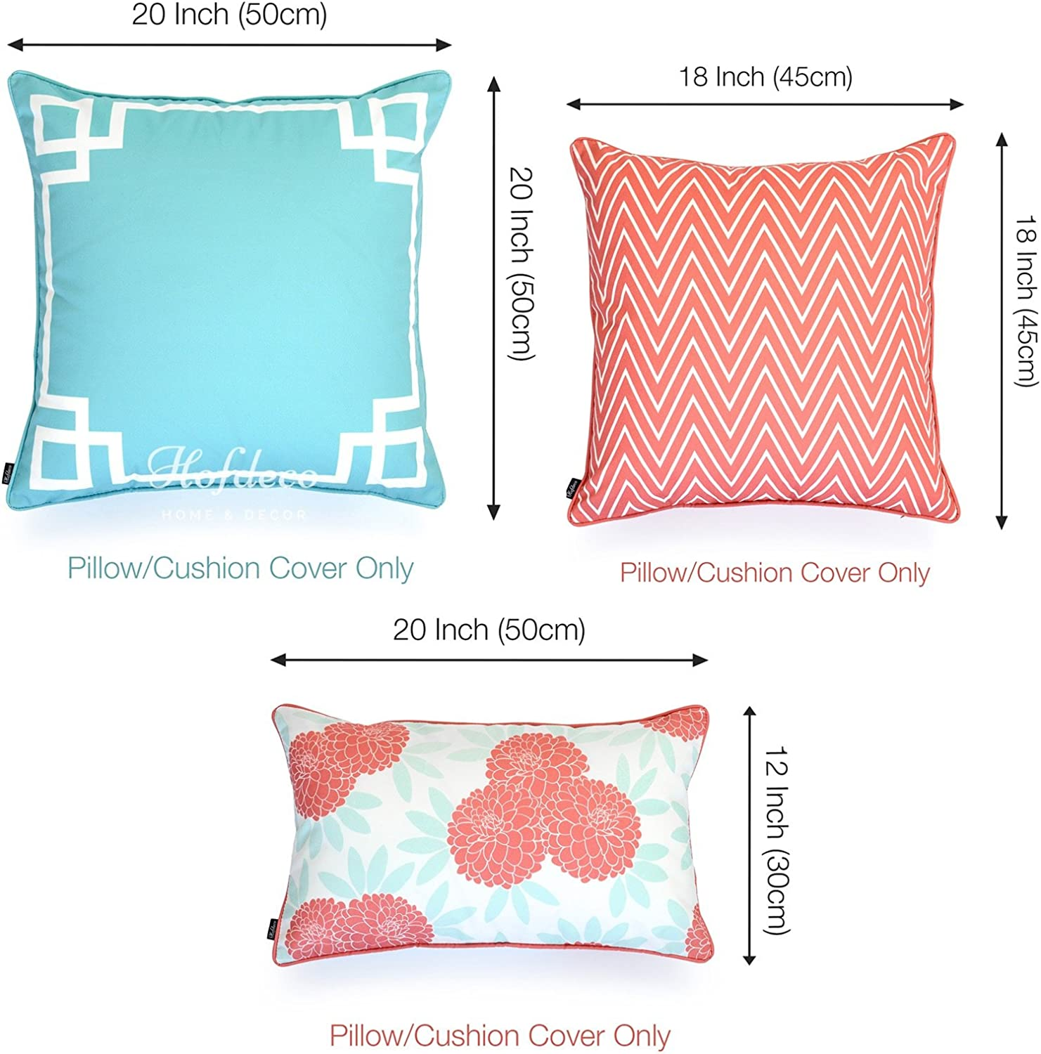 Hofdeco Spring Indoor Outdoor Pillow Cover Only Water Resistant For Patio Lounge Sofa Aqua Coral Pink Greek Key Chevron Floral 18 X18 20 X20 12 X20 Set Of 3 Garden Outdoor