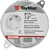 Taymac RB550WH Weatherproof Box, Round - (5) 1/2-Inch Outlets, White