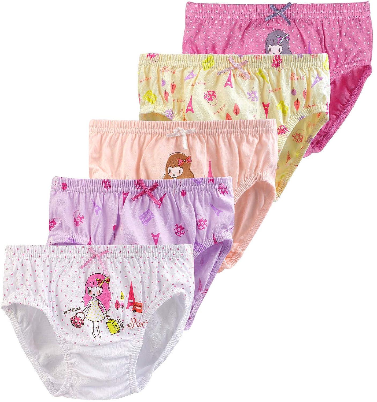 db3e37635519 Amazon.com  BOOPH Girls Underwear Baby Toddler Briefs Panties 5 Pack  Cartoon Ballerina Dancing Girl Prints Hispster 2-7 Year  Clothing