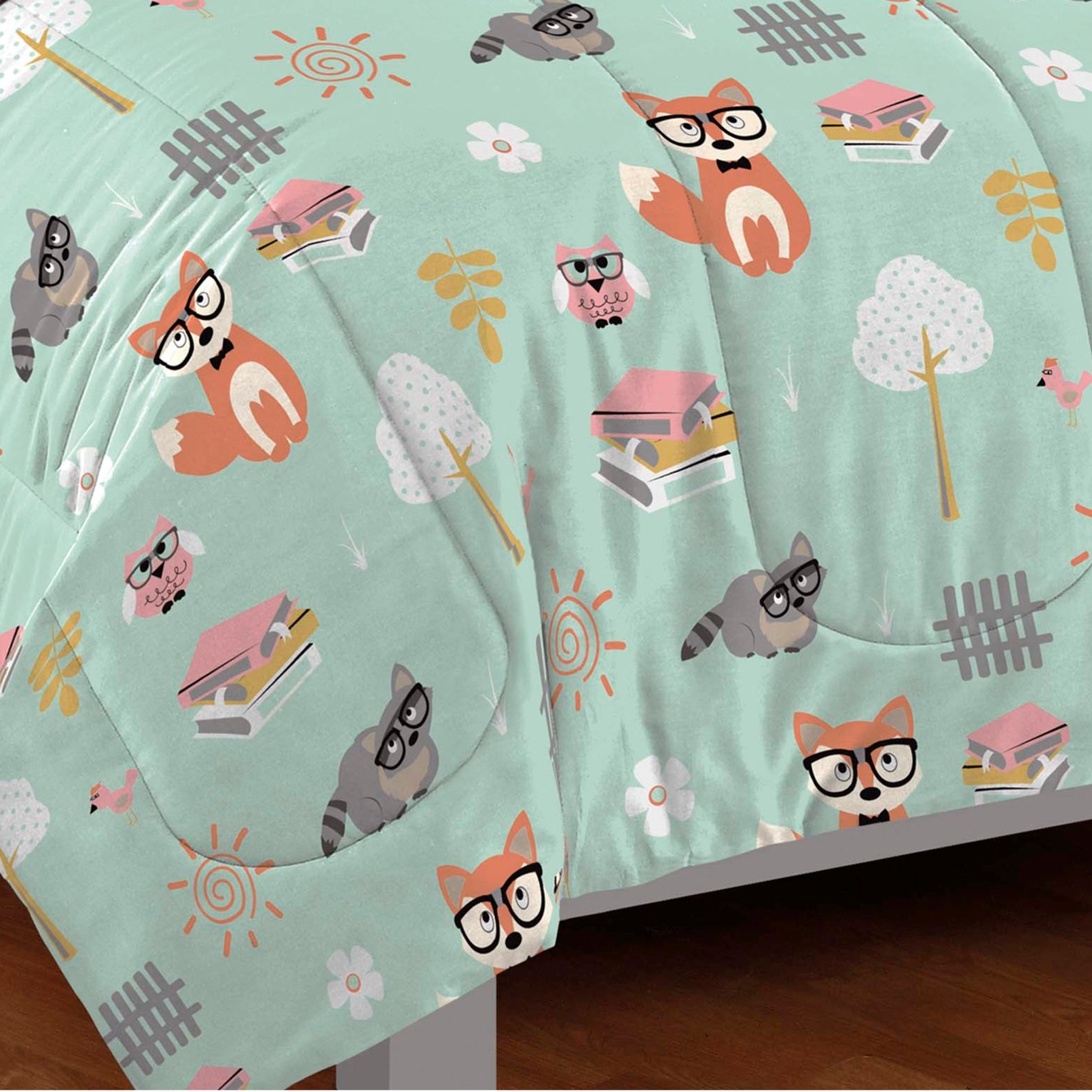 dream FACTORY Casual Woodland Friends Comforter Set, Twin, Green by dream FACTORY (Image #3)