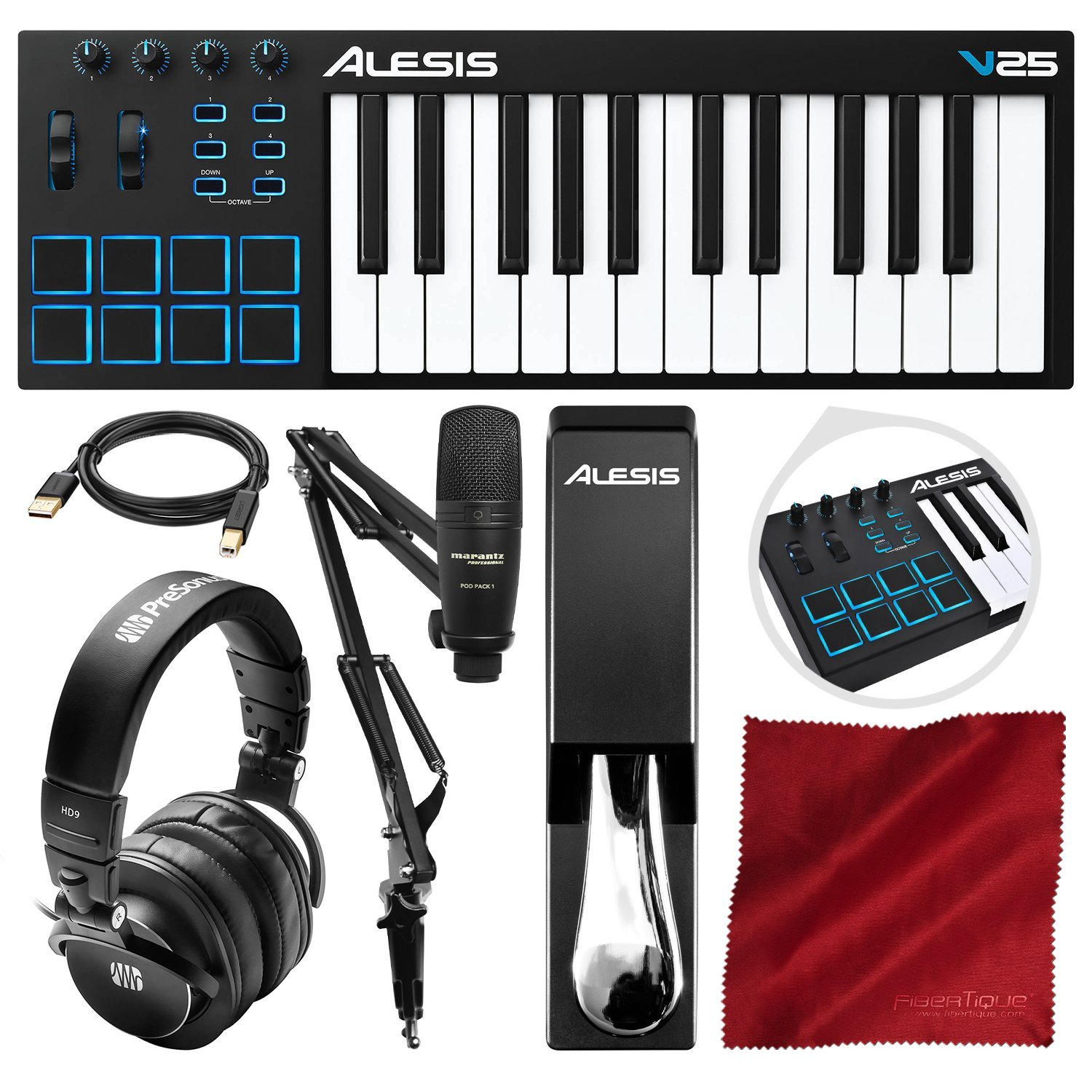 Alesis V25 25-Key USB MIDI Keyboard Controller & Drum Pad with Marantz Pod Pack 1 Broadcasting Kit, PreSonus Headphones, Sustain Pedal, and Platinum Bundle by Alesis