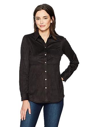 902836acb2fb73 Foxcroft Women's Long Sleeve JENA Faux Suede Shirt at Amazon Women's  Clothing store: