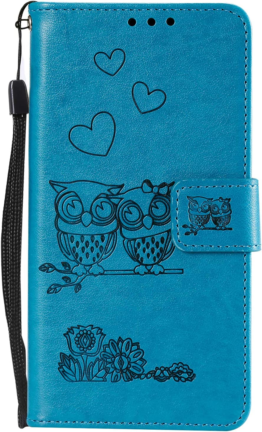 Lomogo Embossed Owl Huawei P Smart Case Leather Wallet Case with Kickstand Card Holder Shockproof Flip Case Cover for Huawei P Smart//nova lite 2 LOHHA100565 Blue
