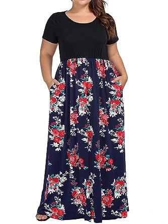 da17510bbaa kissmay Women s Plus Size Casual Short Sleeve Floral Maxi Dresses ...