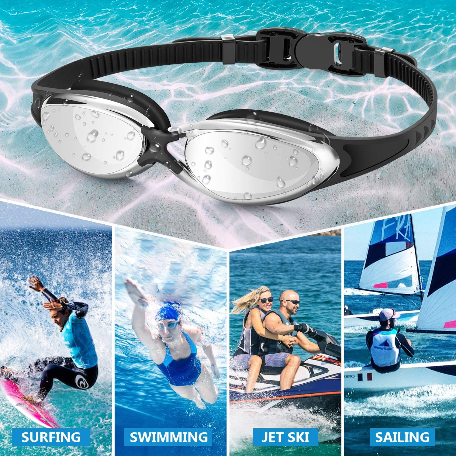 Portzon Swim Goggles Best Non Leaking Anti-Fog UV Protection Clear Vision Free Goggle Case Nose and Ear Plugs Black Silver Swimming Goggles for Men Women Adults
