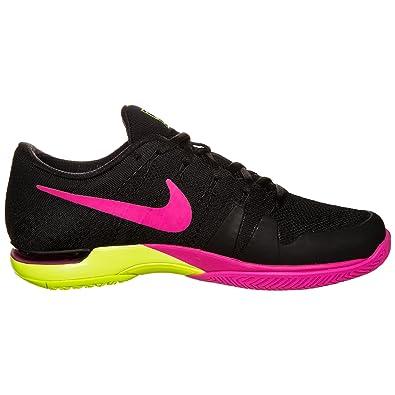 Nike Mens Zoom Vapor Flyknit Tennis Shoe (Black/Pink Blast/Volt) Size