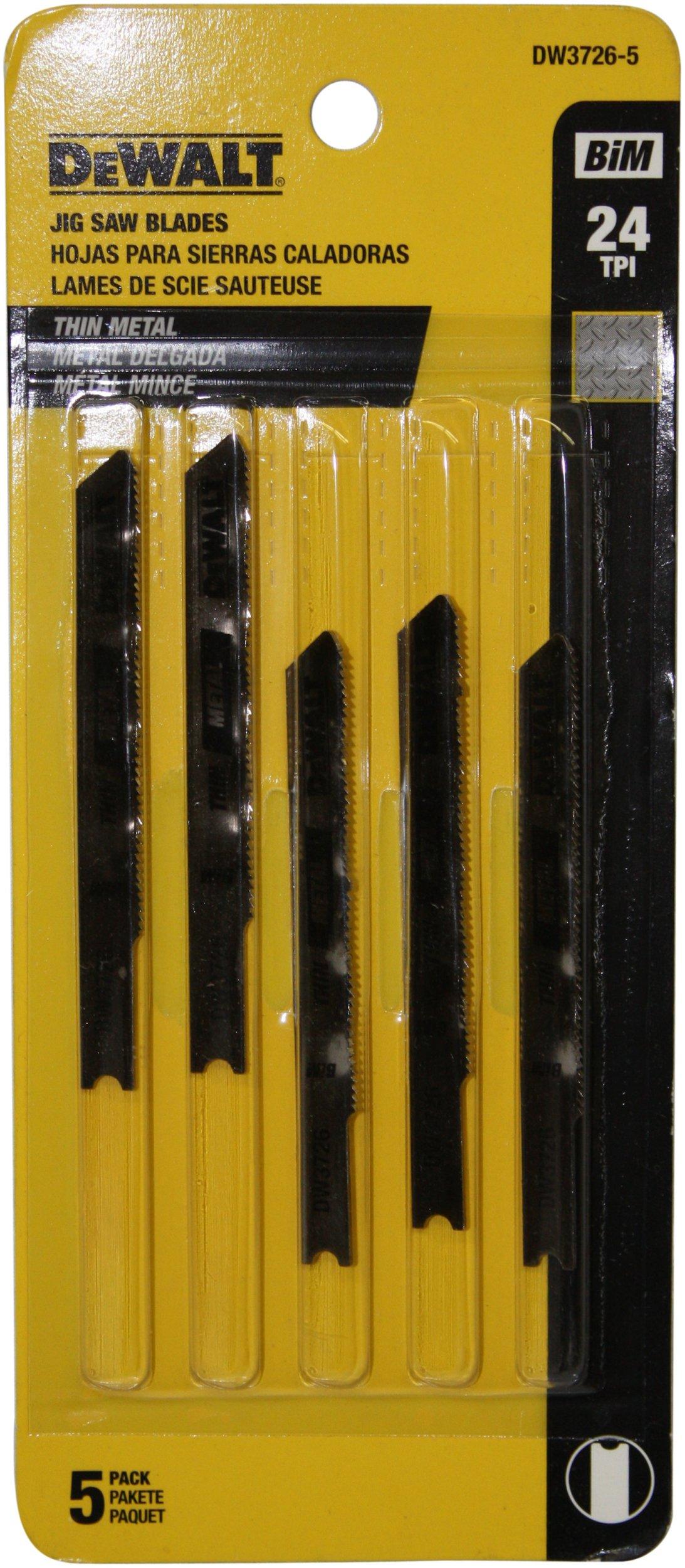 DEWALT DW3726-5 3-Inch 24 TPI Thin Metal Cut Cobalt Steel U-Shank Jig Saw Blade (5-Pack)
