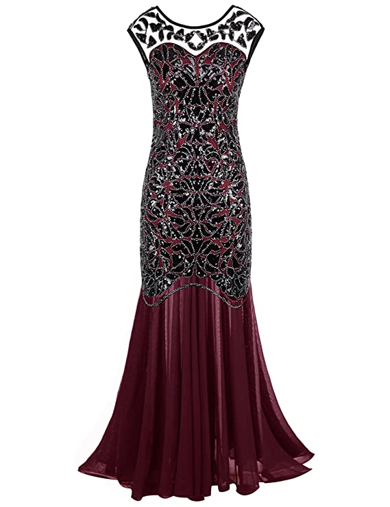 Roaring 20s Costumes- Flapper Costumes, Gangster Costumes Black Sequin Gatsby Maxi Long Evening Prom Dress $49.99 AT vintagedancer.com