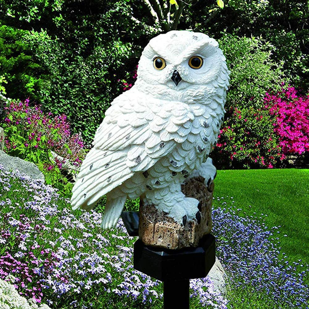 Galapara solar porch light,fake owl,Owl Garden Solar Lights, Solar Powered LED Lamp Outdoor, Decorative Waterproof Garden Stake Lights for Walkway Yard Lawn Landscape Lighting (Brown, White)