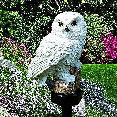 Galapara solar porch light,fake owl,Owl Garden Solar Lights, Solar Powered LED Lamp Outdoor, Decorative Waterproof Garden Stake Lights for Walkway Yard Lawn Landscape Lighting Brown, White