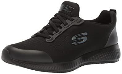 efce43d80c Skechers for Work Women's Squad SR Food Service Shoe, black flat knit, ...