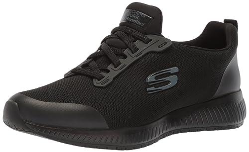 Skechers Hombres 77222 Punta Blanda Metedera Botas De Seguridad, Black Flat Knit 1, Talla
