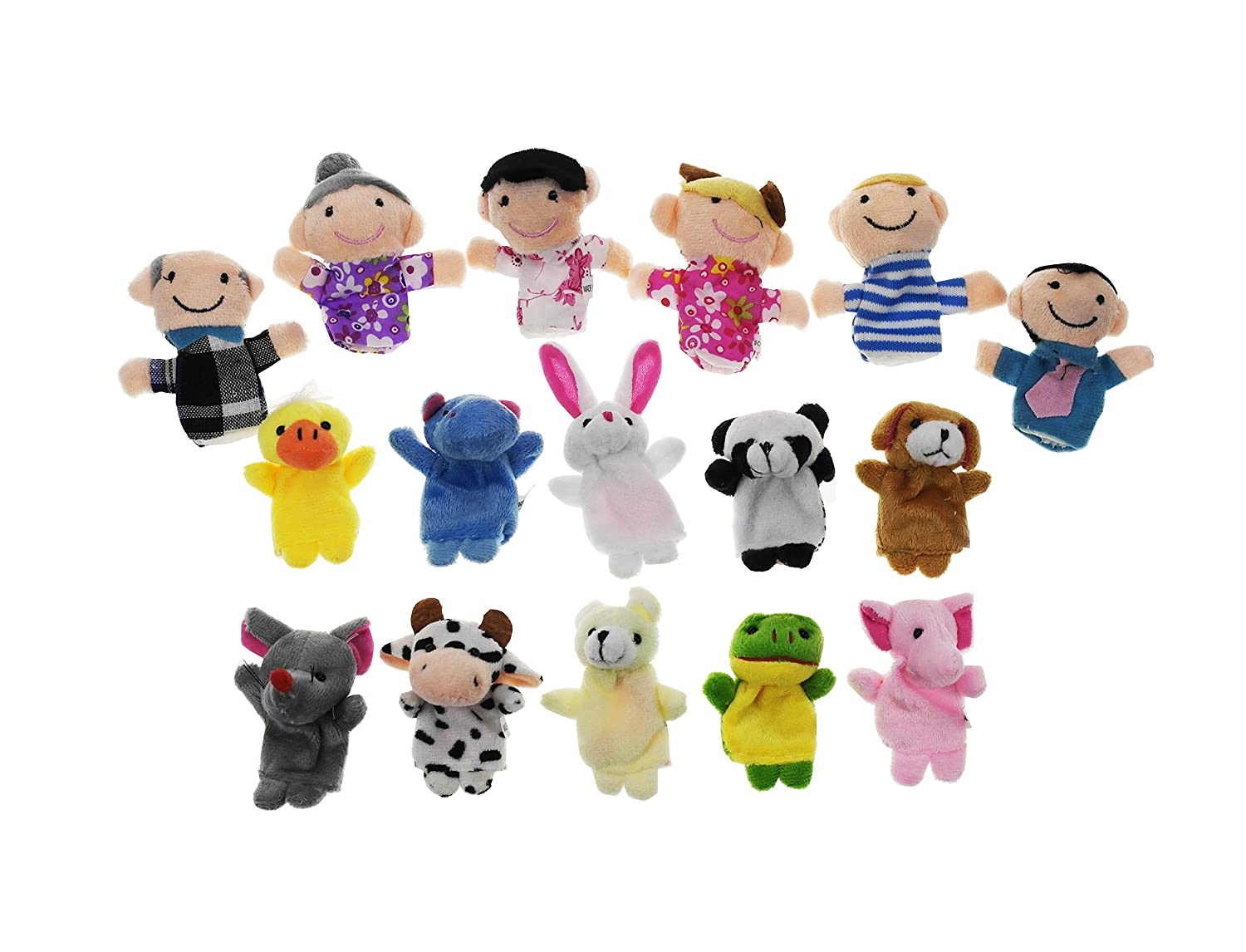Shxstore Cute Velvet Animal and Family People Finger Puppets Set for Toddlers, Pack of 16