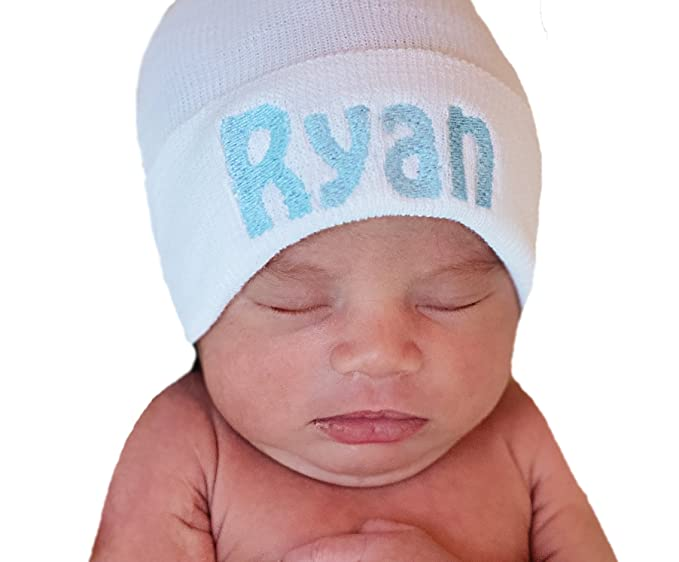 6b8e40ea3c707 Image Unavailable. Image not available for. Color  Melondipity Pure White  Personalized Hospital Hat - Newborn Boys