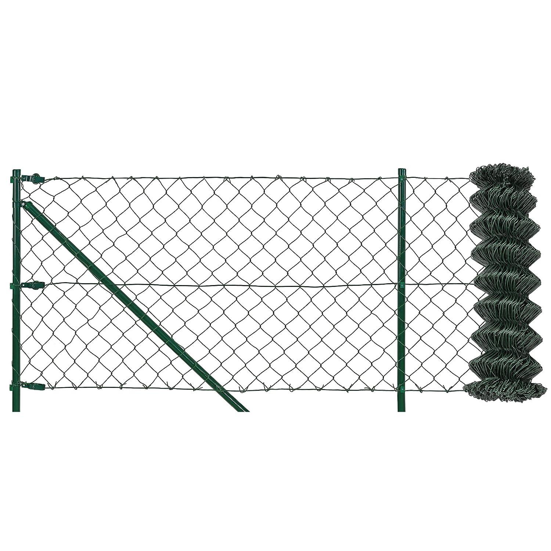 [pro.tec] Maschendrahtzaun Komplettset grün verzinkt (1,25m x 25m) Schweißgitter Volierendraht Zaun