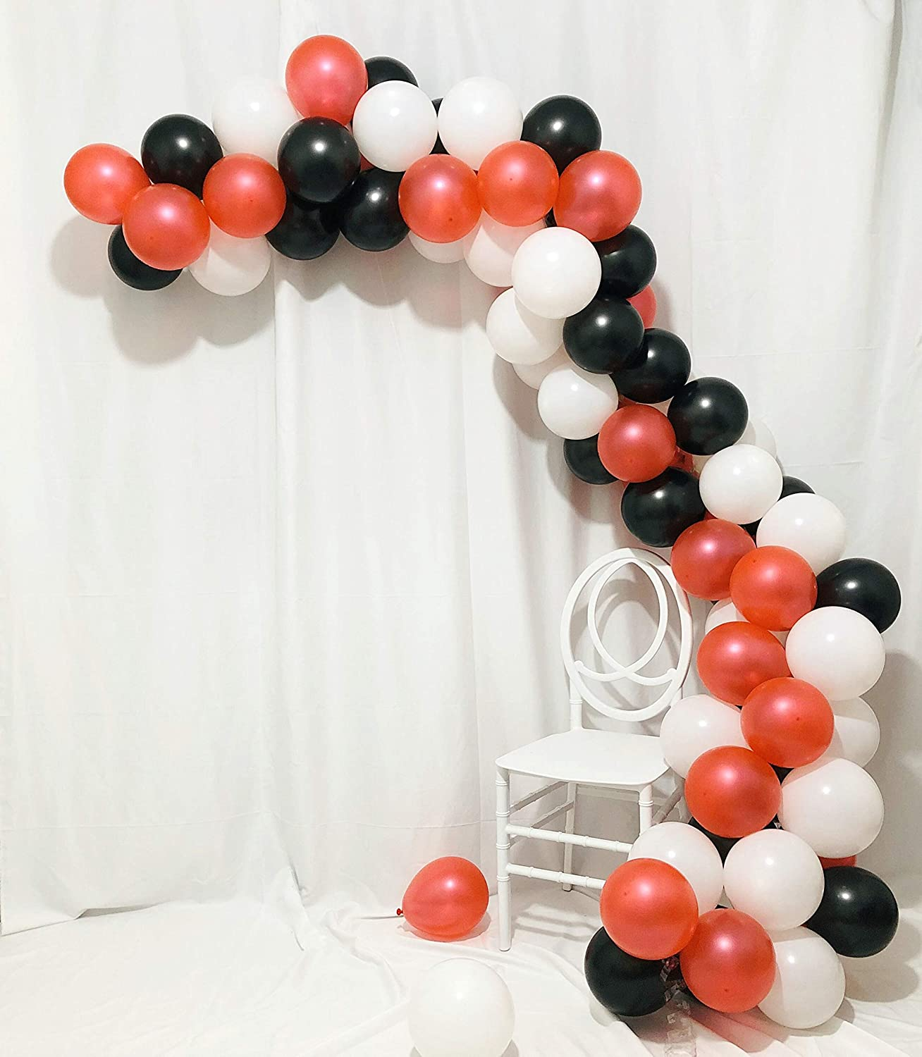 Sorive Balloon Arch & Garland Kit | Happy Valentine's Day Balloons Bouquet Pearl Red Black and White Latex Party Decorations for Graduation Birthday Wedding Bridal Shower Anniversary 102 Pack Supplies | Glue Dots & Decorating Strip