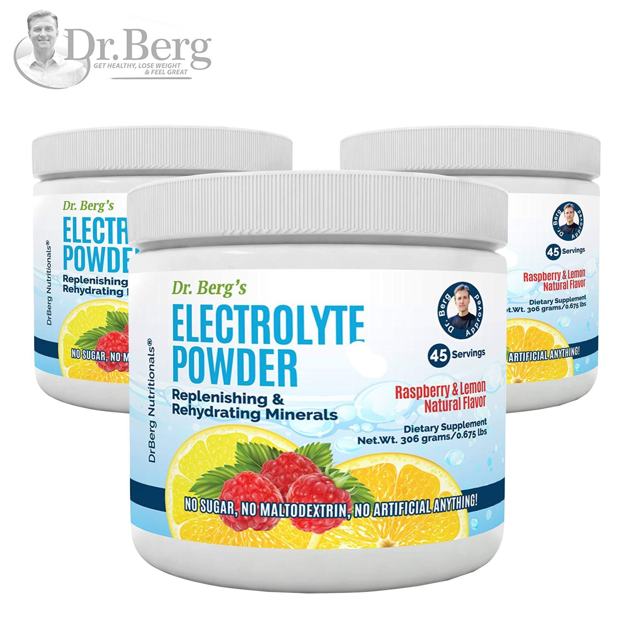 Dr. Berg's Electrolyte Powder, High Energy, Replenish & Rejuvenate Your Cells, 45 Servings, NO Maltodextrin or Sugar, Amazing Raspberry Lemon Flavor (3 Pack)