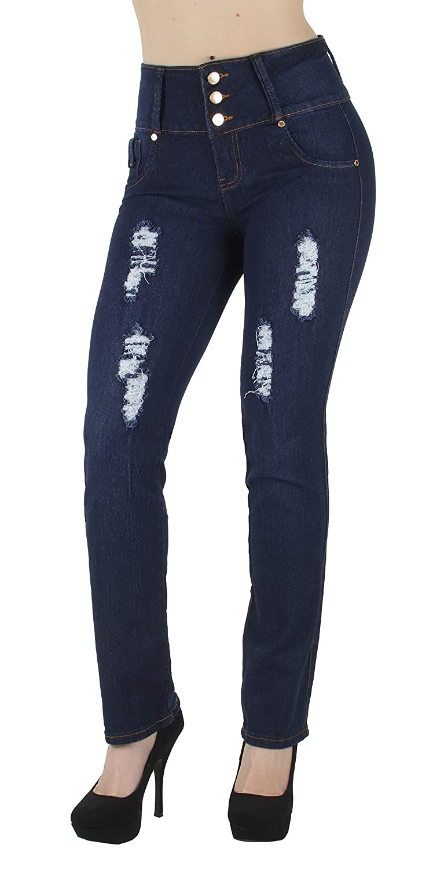 Fashion2Love N506BT-R– Butt Lift, Levanta Cola, Destroyed, Ripped, High Waist, Boot Leg Jeans