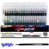 (48 Colour Marker Set) - 48 Colour Super Markers Watercolour Soft Flexible Brush Tip Pens Set - Fine & Broad Lines, Vibrant Colours - Children & Adult Colouring Books, Manga, Comic, Calligraphy, Art