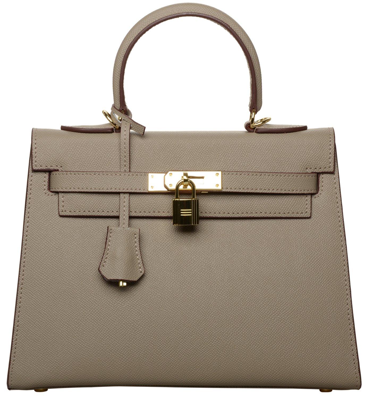 Women's Padlock Handbag Genuine Leather Taiga Top Handle Satchel Bag Cherish Kiss(28CM, Taupe)