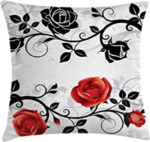 """Ambesonne English Garden Throw Pillow Cushion Cover, Abstract Backdrop Floral Rose Swirls Ivy with Leaves Spring, Decorative Square Accent Pillow Case, 16"""" X 16"""", Vermilion Grey"""