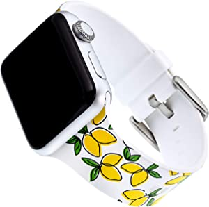 WITHit Dabney Lee Silicone Replacement Band for Apple Watch, 38/40mm, Lemony – Secure, Adjustable Stainless-Steel Buckle Closure, Apple Watch Band Replacement, Fits Most Wrists