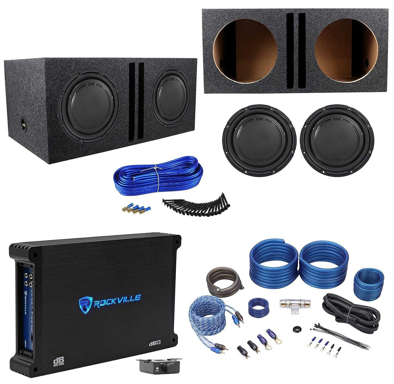 Amazon.com: (2) Polk Audio DB1242SVC 12 2220w Subwoofers+Vented Box+Mono Amplifier+Amp Kit: Car Electronics