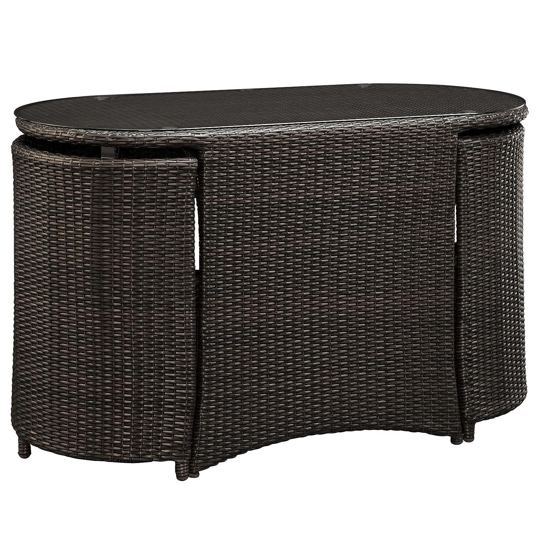 amazon com lexmod katonti 3 piece outdoor wicker patio set with