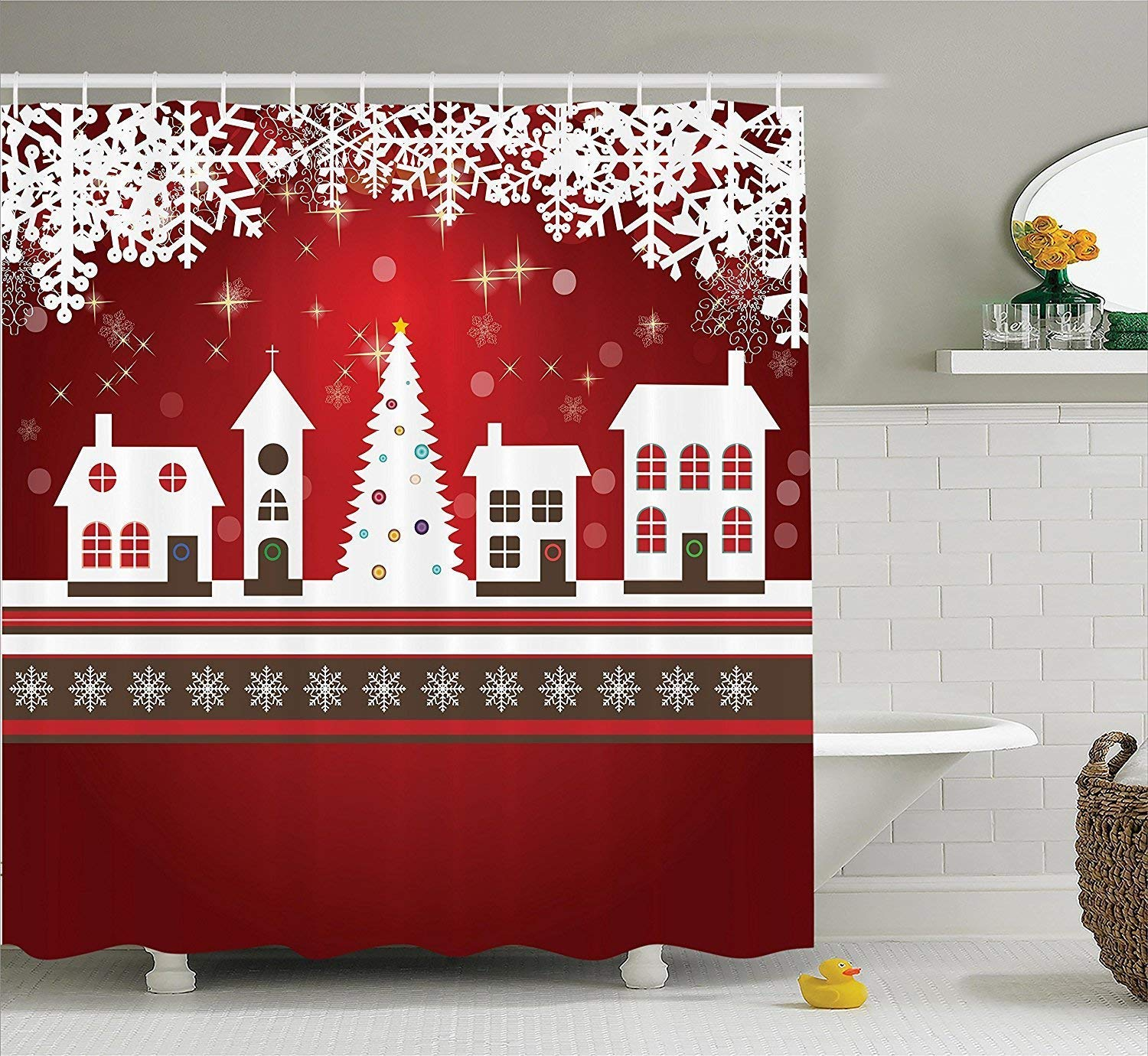 Diversión sexy werert werert sexy Christmas Shower Curtain, Winter Holidays Theme Gingerbread House with Trees and Snowflakes Artwork Print, Fabric Bathroom Decor Set with Hooks,Red White 72 X 72 118c47