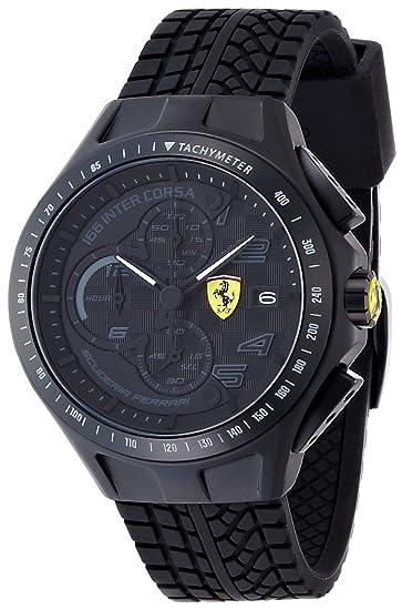 Ferrari 830105 - Reloj analógico de cuarzo para hombre, correa de silicona color negro (