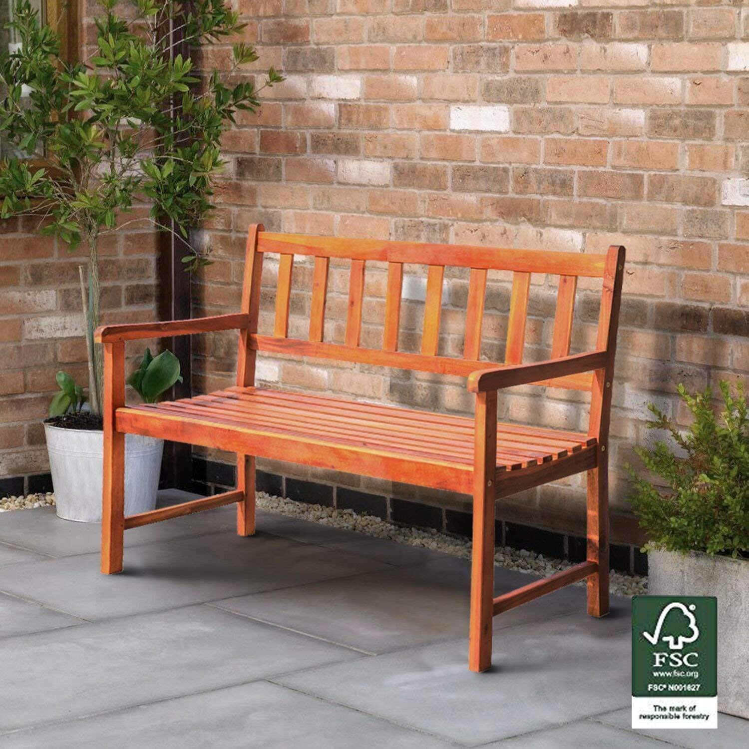 Leisure Zone Wooden Garden Bench Loveseat FSC Hardwood Patio Bench - Classic 2 Seater Outdoor 4ft, High Back Seat (Natural)