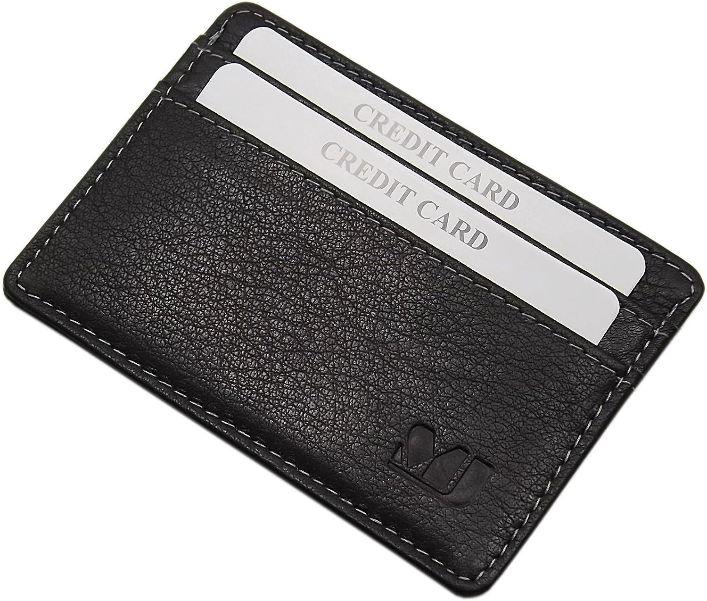 Extra Plate et Petit Cuir de Buffle Porte-Cartes de cr/édit MJ-Design-Germany en 3 diff/érentes Couleurs Noir