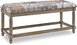 Linon Home Decor Products Linon Felix Grey Patchwork Upholstered Bench