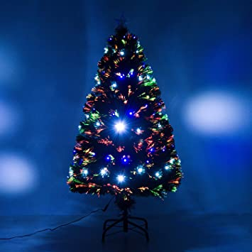 homcom 4 artificial holiday fiber optic light up christmas tree green