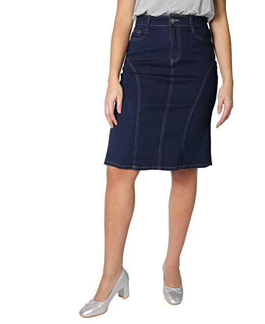 authorized site authentic quality best selling KRISP® Women Denim Skirt Classic Stretch Pencil A-Line Office Skirts