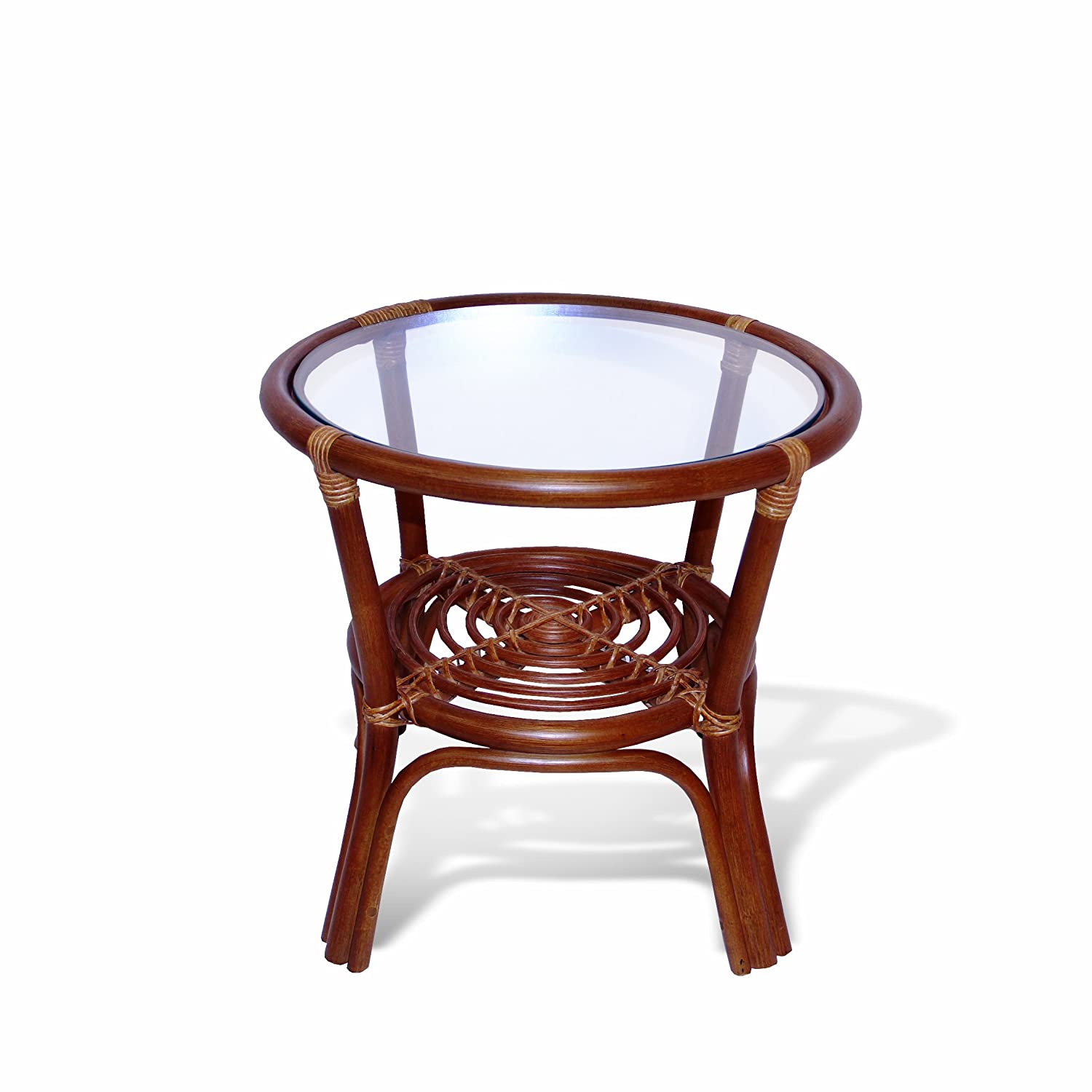 Amazon.com : Leo Rattan Wicker Round Accent End Table With Glass, Colonial  : Garden U0026 Outdoor