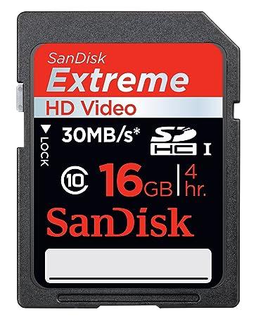 Amazon.com: SanDisk Extreme HD Video 16 GB SDHC Class 10 ...