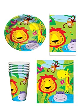 Set de fiesta para 16 comensales infantiles con diseño de animales de la jungla, incluye 16 vasos, 16 platos, 16 servilletas y 1 mantel