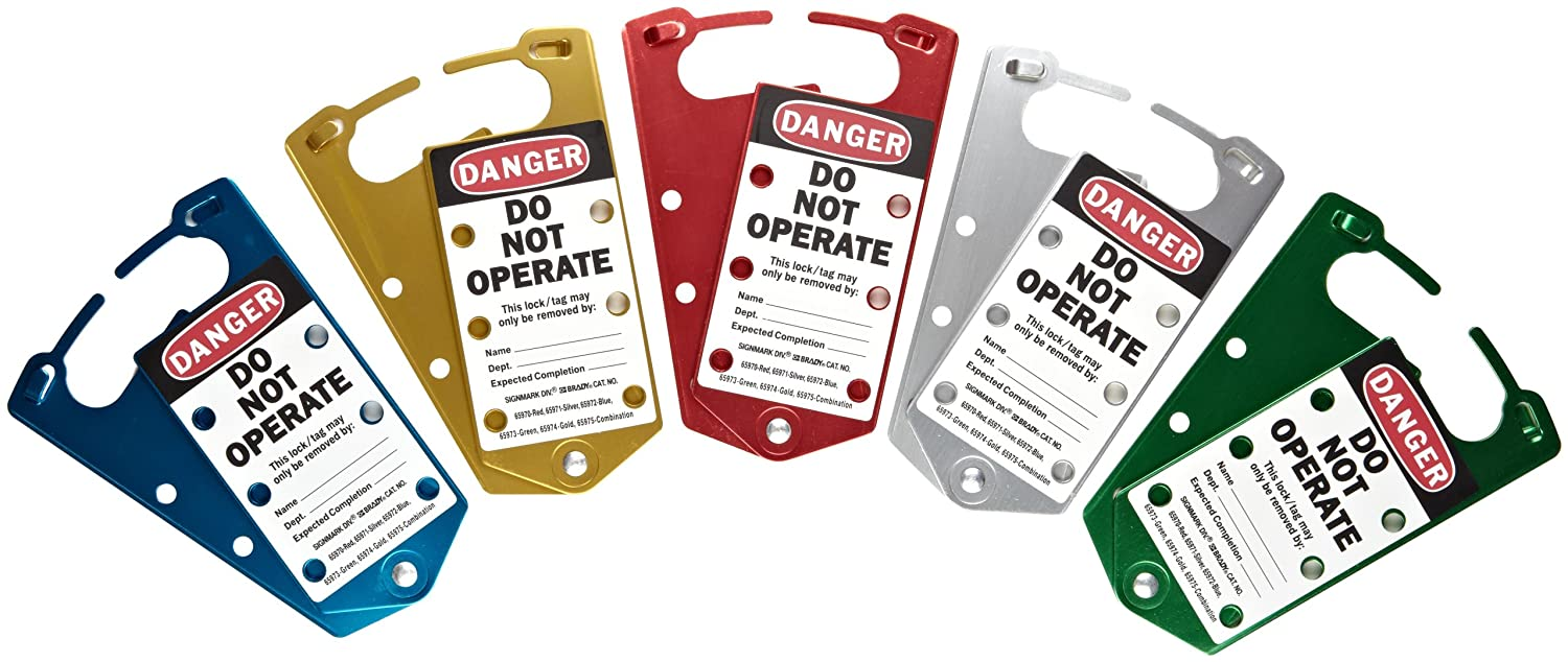 Brady Anodized Aluminum Labeled Lockout Hasp 5 Color Assortment Pack of 5