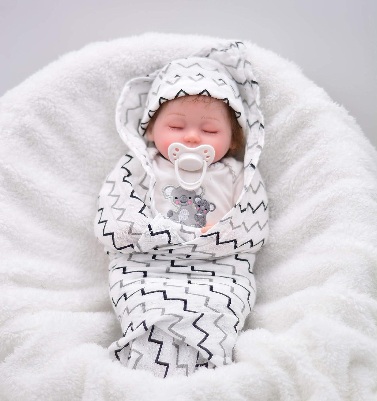 WAWA-HAOKEAI 16'' Wish & Dress Baby Realistic Handmade Baby Dolls Boy Newborn Lifelike Vinyl Alive Soft Toys, with Soft Blanket , Magnetic Mouth Sleep Baby