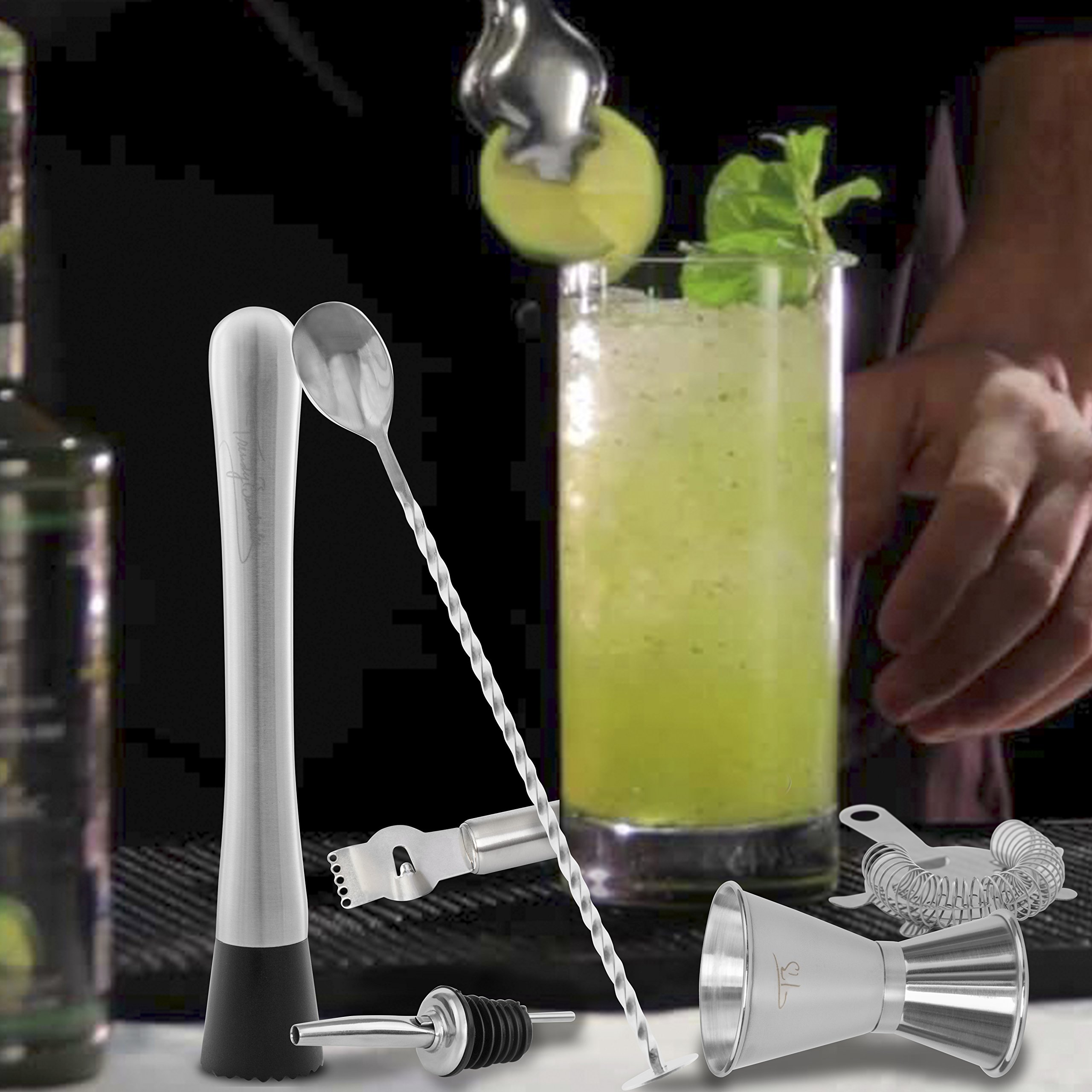 Bar Tool Essentials Deluxe - Bar Set with 6 Crafted Stainless Steel Bar Tools for Your Bar Cart by Trendy Bartender - Muddler, Cocktail Spoon, Jigger, Pourer, Zester & Strainer - Mix With Style