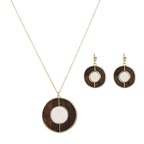 1960s Jewelry Styles and Trends to Wear Lova Jewelry 70s Retro Wood Disk Gold Tone Necklace Earrings $10.99 AT vintagedancer.com