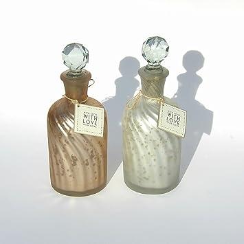 Amazon De Deko Glasflaschen Vintage Stil Gold Und Silber