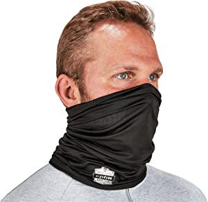 Ergodyne Chill-Its 6487 Cooling Neck Gaiter, Multiple Ways to Wear Headband or Face Mask,Black