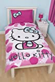Character World - Juego de funda de edredón y fundas de almohadas para cama individual (reversible, 135 x 200 cm), diseño de Hello Kitty