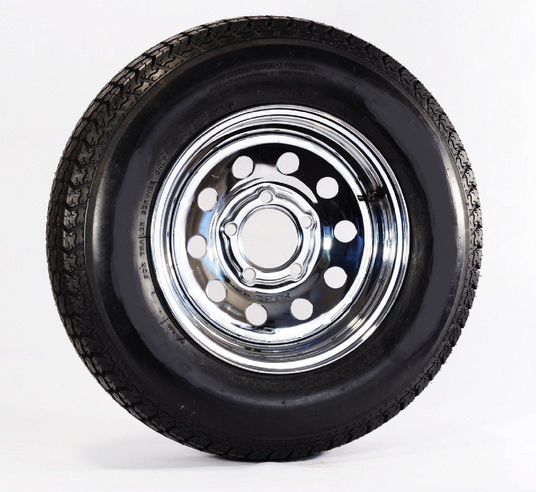 Two Radial Trailer Tires & Rims ST205/75R15 205/75-15 15'' 5 Lug Bolt Chrome Mod